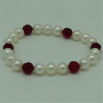 White Round Pearls With Red Crystals 1 Layer Elast...