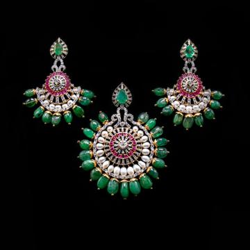 18k gold green emerald  pendant set agj-ps-138