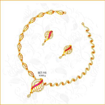 916 Gold Colorful CZ Diamond Bridal Necklace Set-115