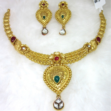 Gold hm916 jadtar necklace set