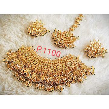 Beautiful Bridal Kundan Necklace Set White And Green Pearl's Amazing Combination1103
