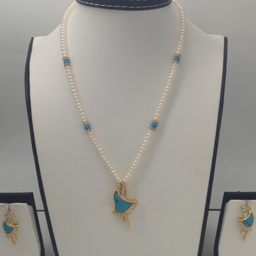 White CZ And Turquoise Pendent Set With Flat Pearl...