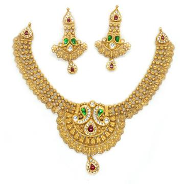 916 Gold Designer Bridal Necklace Set RHJ-4002
