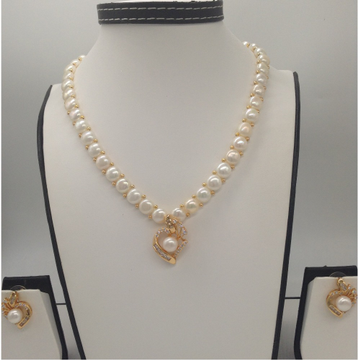 WhiteCZ And Pearls PendentSet With 1Line ButtonJali Pearls Mala JPS0403