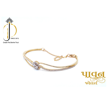 18KT Yellow Gold delicate Fancy CZ Diamond Bracele... by