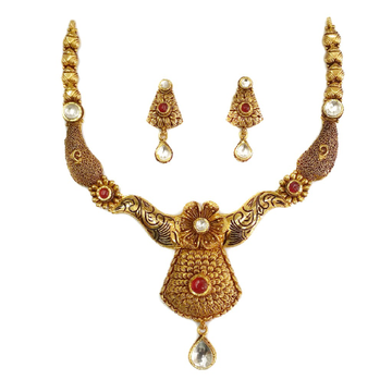22k Gold Antique Rajwadi  Nakkashi Necklace Set MGA - GN077