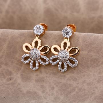 750 Rose Gold stylish Women's CZ Earring RE184