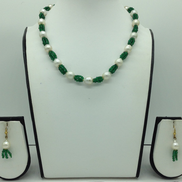 Seawater White Pearls and Green Crystals Necklace...