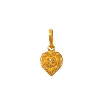 18K Gold Heart Shaped Om Pendant MGA - PDG0198