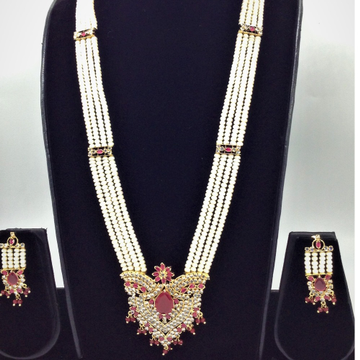 White Polki And Red Cz Rani Haar Set With 4 Lines Flat Pearls Mala JPS0447