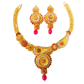 One gram gold forming necklace set mga - gfn0011
