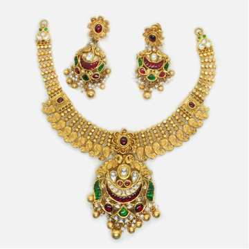 916 Gold Traditional Bridal Necklace Set RHJ-6025