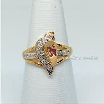 916 Gold Om Design Ladies Ring