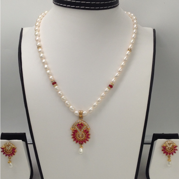 White And Pink CZPendentSet With OvalPearls Mala JPS0093