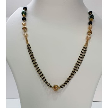18k gold black beaded chain by