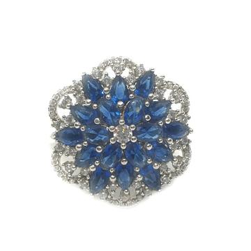 925 Sterling Silver CZ Cut Blue Diamond Ring MGA - LRS1283