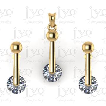 18Kt jyo studded stone light weight pendant set by