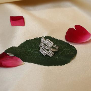 92.5 Sterling Silver Markish & Choki Stone Rectangle Shape Ring For Women