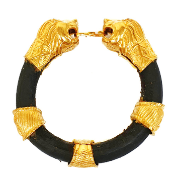 One Gram Gold Forming Lion Leather Belt Bracelet MGA - BRE0010