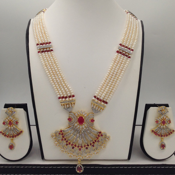 WhiteAnd Red CZ Rani HaarSet With 5Lines FlatPearls Mala JPS0495