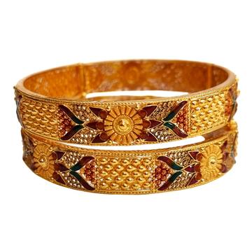 22K Gold Meenakari Designer Patla Bangles MGA - GP...