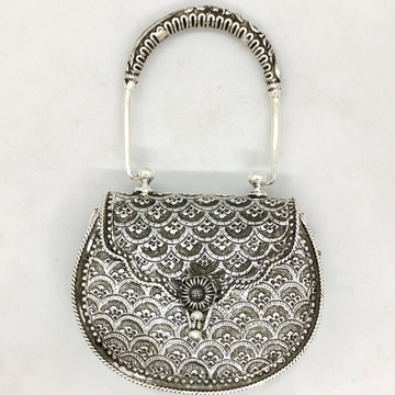 real Silver hand bag in Fine Carvings and Studded...