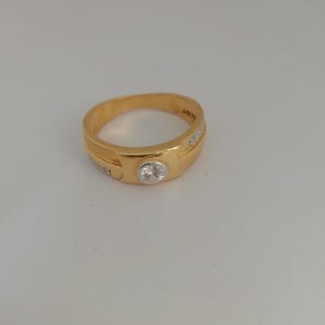 916 gold casting & diomund Gents ring by Vinayak Gold