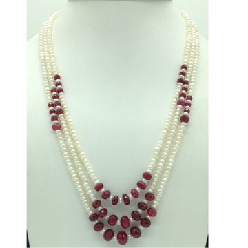 Freshwater White Flat Pearls with Red Ruby 3 Layer...