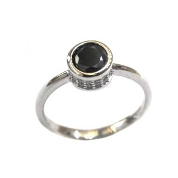 925 Sterling Silver Fancy Black Colour Stone Ring MGA - LRS1565