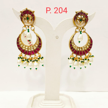 Moon shape Gold plated Ruby stone Earring with Hanging Pearl  1703