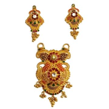 916 Gold Minakari Heart Shepherd Mangalsutra Pendant Set MGA - MGP019