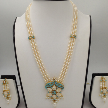 Turquiose And White Pearls Rani Haar Set With 3 Lines Flat Pearls Mala JPS0448