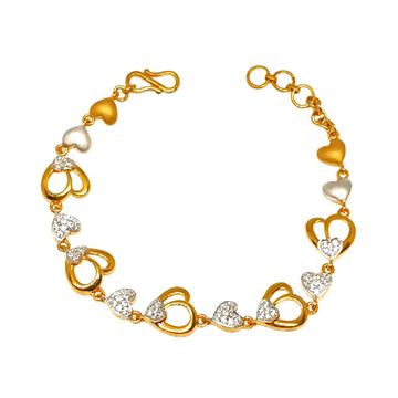 22K Gold Heart Shape Designer Bracelet MGA - BRG0027