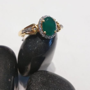 22KT Gold Green Stone Attractive Design Ring by