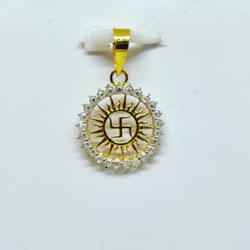 18 KT 750 Hallmark fancy swastika diamond Pendent by Harekrishna Gold