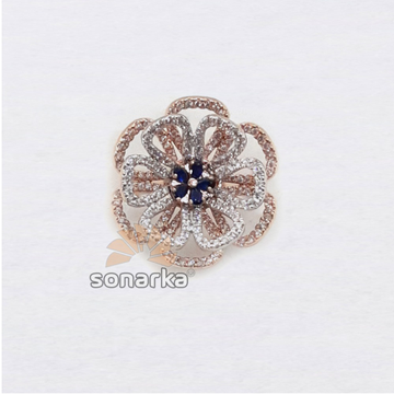 18k Flower Design CZ Rose Gold Ring SK - R001