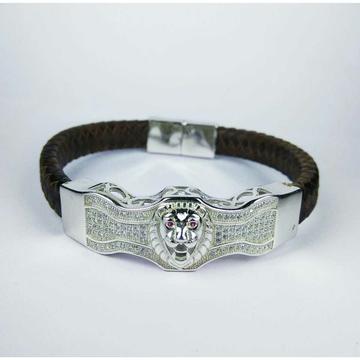Fancy 925 Silver Gents Bracelet With Lion Face
