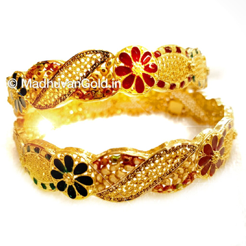 22k Gold Kalkatti Meenakari Flower Shape Kada Bangles MGA - GP068