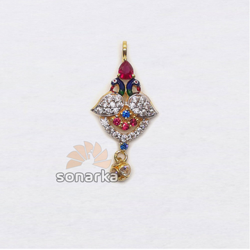 22KT Gold Peacock Design colourful CZ Dimaond Pendant