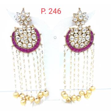Wedding Pink (Ruby) stone Kundan & Gold tone Bead long Earring 1517