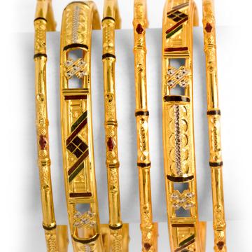 916 Gold Designer 6 Piece Bangle Set BO-011