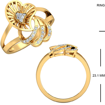 22KT Yellow Gold Helios Cluster Ring For Women