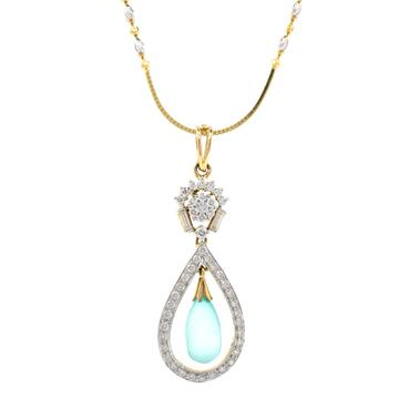 Blue Stone & Diamond Pendant in Yellow Gold 8SHP86