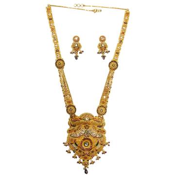 22k gold rajawadi meenakari flower necklace set mga - gls016