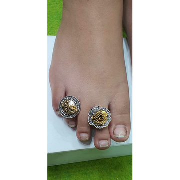 Yallow gold with micro oxodize bichiya ferva-toe ring ms-3972