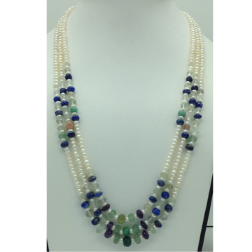 Freshwater White Pearls with Stones 3Layers Necklace JPM0375