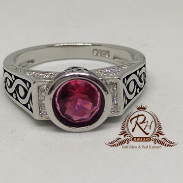 92.5 silver red stone daimond antic gents ring Rh-Gr956