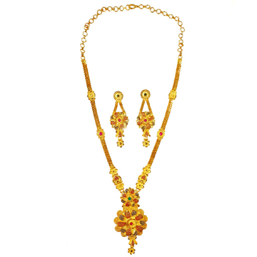 One Gram Gold Forming Round Shaped Desiger Long Necklace Set MGA - HRE0004