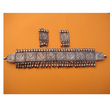Puran pure silver tribal flower choker necklace with earrings