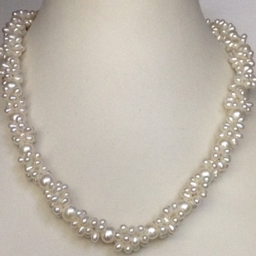 Freshwater white drop and round pearls jaali rassi mala